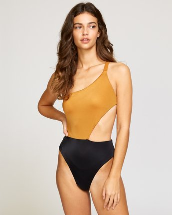 1 Solid Cut Out Cheeky One Piece Brown X104VRSO RVCA