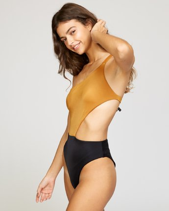 2 Solid Cut Out Cheeky One Piece Brown X104VRSO RVCA