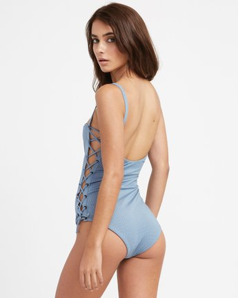 2 Beau Grid Lace-Up One Piece Swimsuit  X105TRBO RVCA
