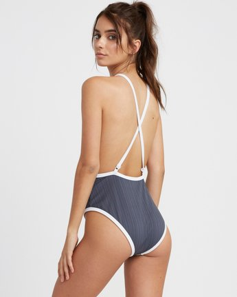 2 Linear Ribbed One Piece Swimsuit Grey X106TRLO RVCA