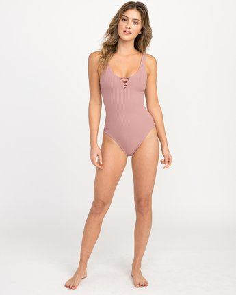 4 Rockaway Ribbed One Piece Swimsuit Pink X109QRRO RVCA