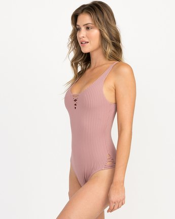 1 Rockaway Ribbed One Piece Swimsuit Pink X109QRRO RVCA