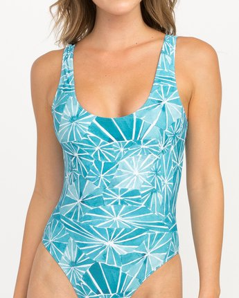 3 Michelle Blade Painted One Piece Swimsuit Grey X120QRPO RVCA