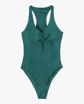 5 Solid Shimmer Lace-Up One Piece Swimsuit Multicolor X126SRSO RVCA