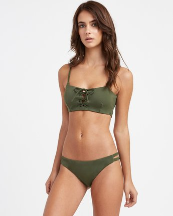2 Solid Full Side Tab Bikini Bottoms Green XB02TRSF RVCA