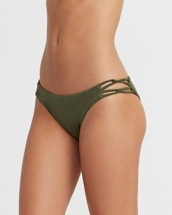 3 Solid Medium Side Loop Bikini Bottoms Green XB03TRSM RVCA