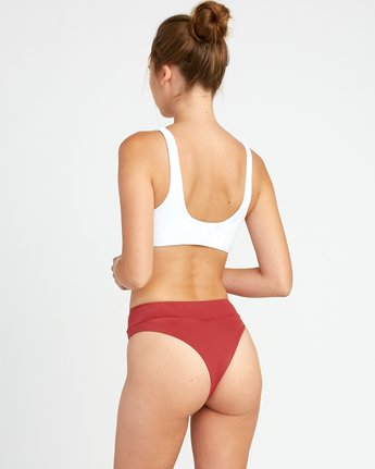 0 Solid High Rise Cheeky Bikini Bottoms Red XB40URHC RVCA