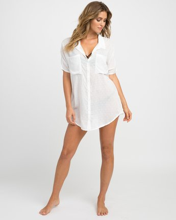 4 Shelton Button-Up Shirt Dress White XC01NRSH RVCA