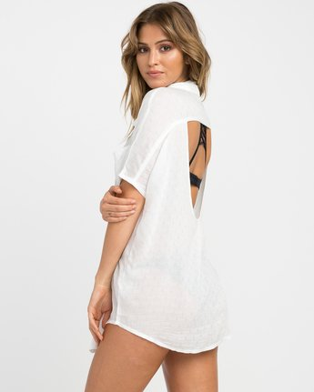 2 Shelton Button-Up Shirt Dress White XC01NRSH RVCA