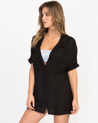 1 And Then Tunic Shirt Dress Black XC05PRAN RVCA