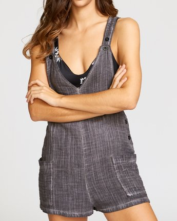 4 Around Town Woven Romper Grey XC05VRAR RVCA
