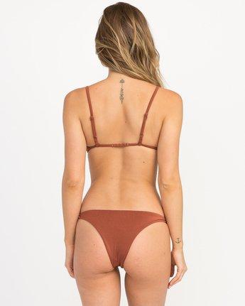 2 Solid Shimmer Triangle Bikini Top Brown XT01QRST RVCA