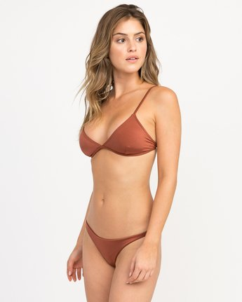 1 Solid Shimmer Triangle Bikini Top Brown XT01QRST RVCA