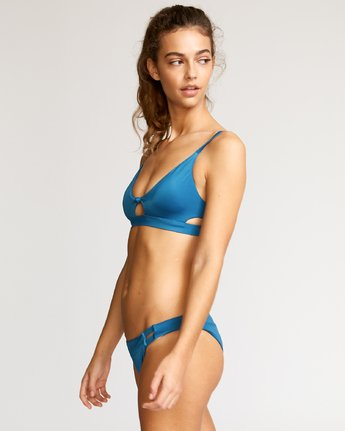 2 Solid Knot Bralette Bikini Top Blue XT02URST RVCA