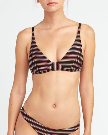 4 Bandit Striped Bralette Bikini Top Black XT09URBB RVCA