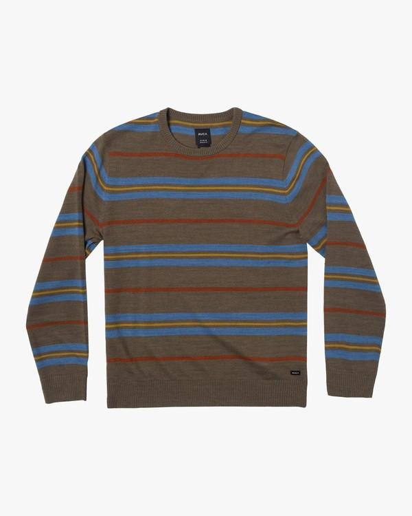 0 Boy's Alex Stripe Crewneck Sweater Grey AVBSW00100 RVCA