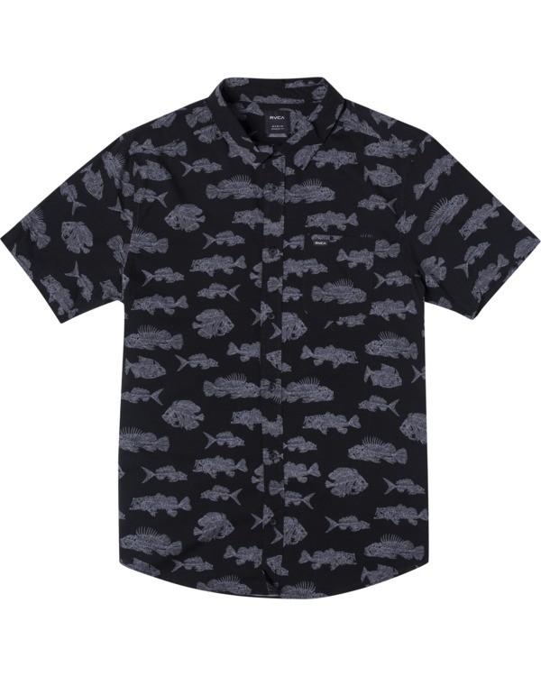 0 Ben Horton | Boy's Dead Fish Short Sleeve Shirt Black AVBWT00121 RVCA