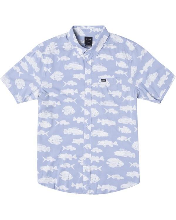 0 Ben Horton | Boy's Dead Fish Short Sleeve Shirt Blue AVBWT00121 RVCA