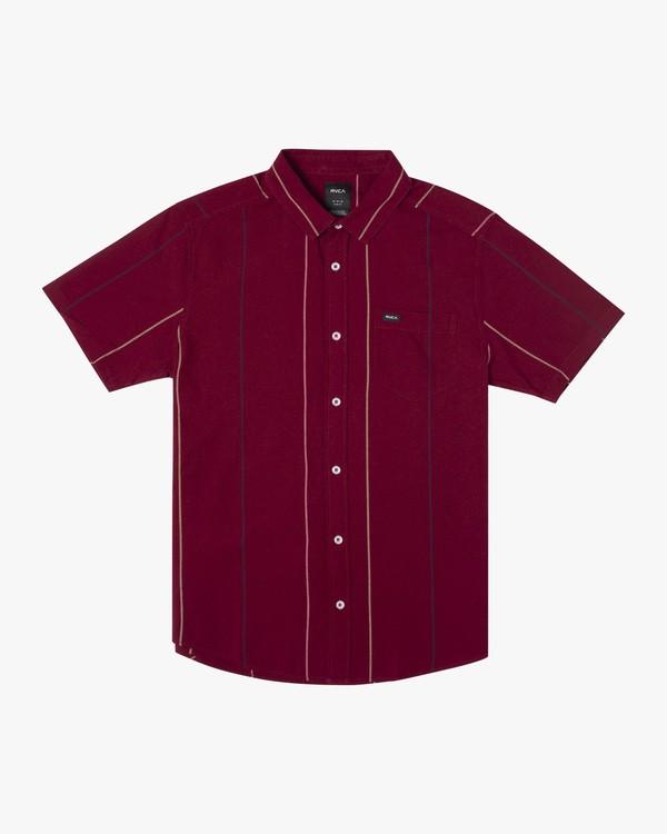 0 Boy's Cassidy Stripe Short Sleeve Shirt Purple AVBWT00131 RVCA