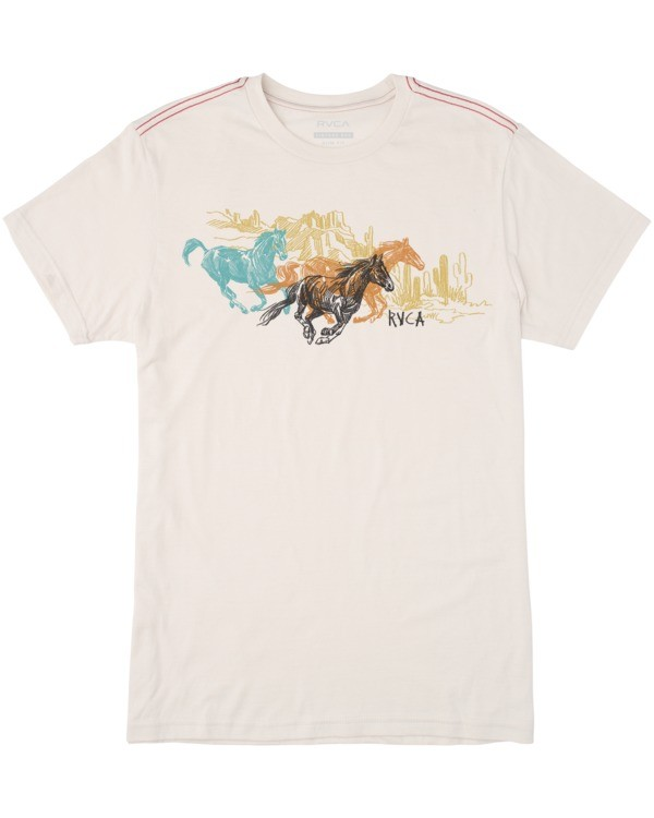 0 Boy's Wyld Horses Short Sleeve Tee White AVBZT00164 RVCA