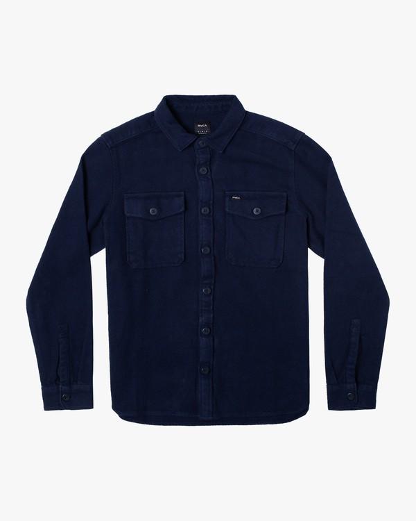 0 VA CPO Long Sleeve Flannel Shirt Blue AVYWT00238 RVCA
