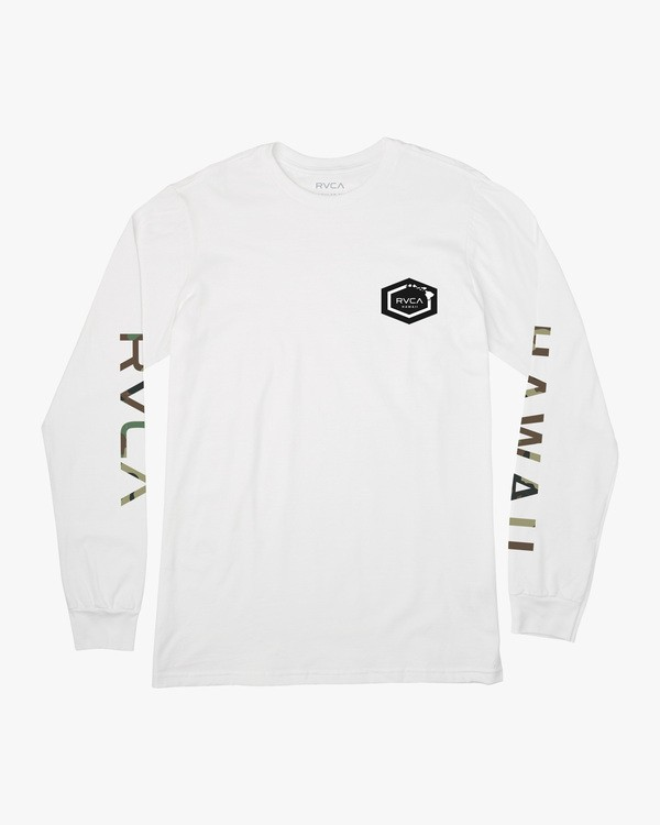 0 ISLAND HEX LONG SLEEVE TEE White AVYZT00328 RVCA