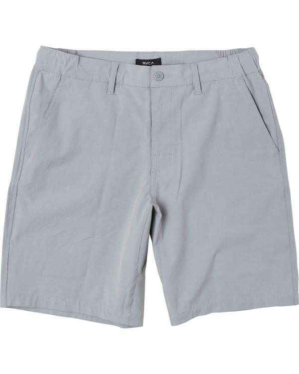 "0 Boy's All Time Coastal Solid Hybrid Shorts 17"" Green B206QRCO RVCA"
