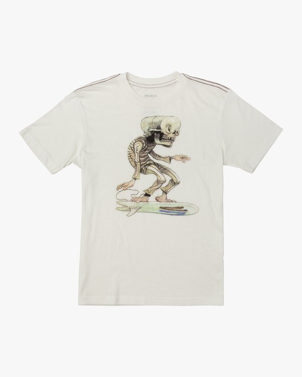 0 BOY'S SKULL SURFER T-SHIRT White B4091RSK RVCA