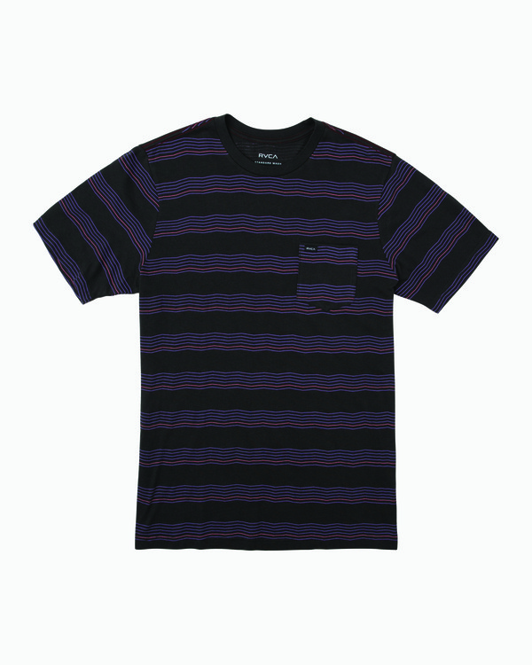 0 Boys Wavy Striped Pocket T-Shirt Black B412WRWS RVCA