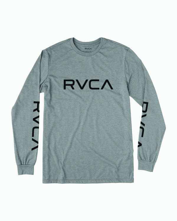 0 Boy's Big RVCA Long Sleeve T-Shirt Green B451SRBI RVCA