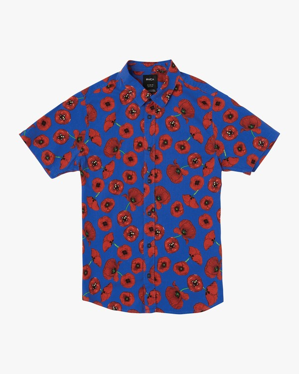 0 Boy's Peace Poppy Shirt Red B510VRPP RVCA