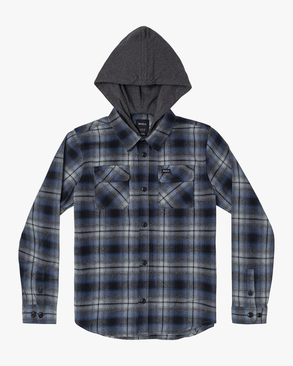 0 Boy's Hostile Hooded Flannel Shirt Blue B556WRHO RVCA
