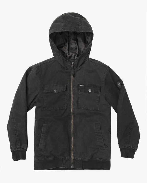 0 Boy's Hooded Bomber II Jacket Black B703WRHB RVCA