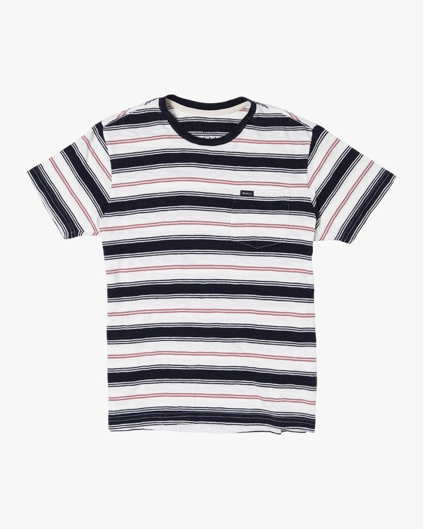 0 Boys DAVIS STRIPE SHORT SLEEVE T-SHIRT White B9052RDS RVCA
