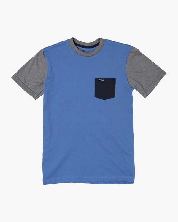 0 Boys OLLIE COLOR BLOCK T-SHIRT Blue B905UROL RVCA