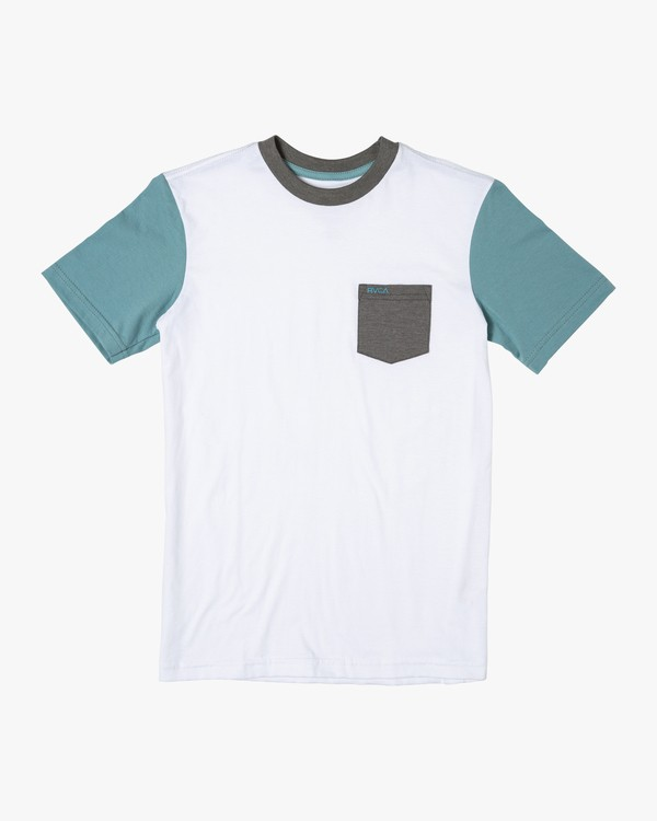 0 Boys OLLIE COLOR BLOCK T-SHIRT White B905UROL RVCA