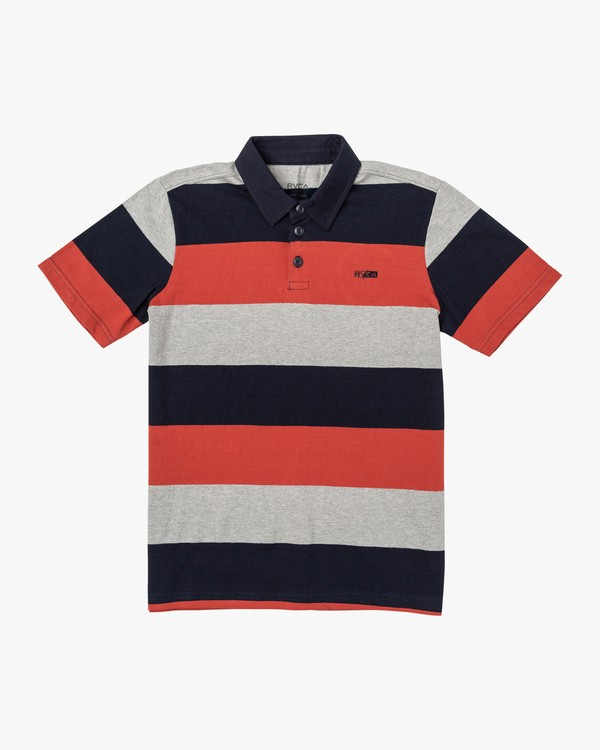 0 Boys Cantera Striped Polo Shirt Grey B906WRCA RVCA