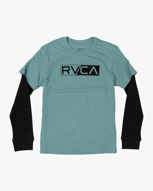 0 Boy's Thermal 2Fer Long Sleeve T-Shirt Green B914WRTH RVCA