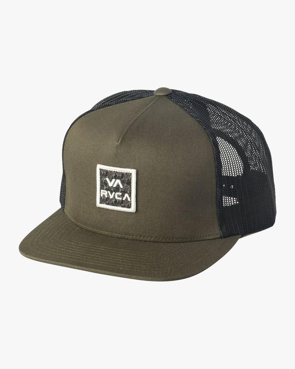 0 Boy's All The Way Print Trucker Hat Green BAHWSRTP RVCA