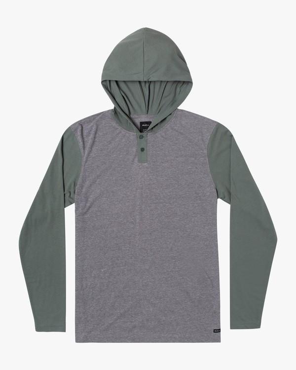0 Boy's Pick Up Hooded Long Sleeve Henley Shirt Green BL904PUH RVCA