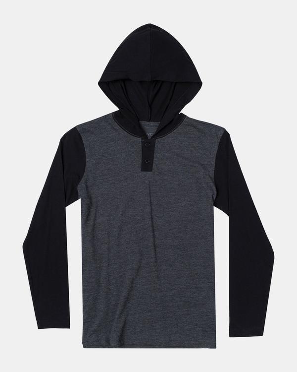0 Boy's Pick Up Hooded Long Sleeve Henley Shirt Black BL904PUH RVCA
