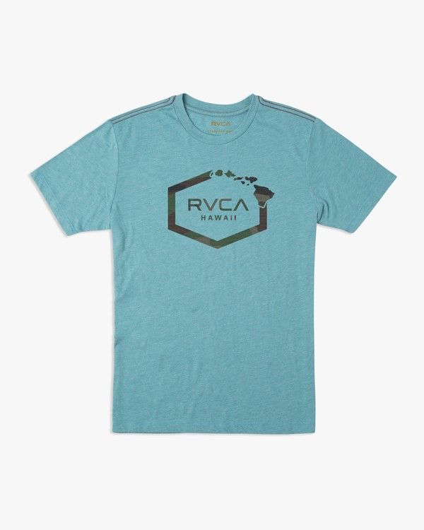 0 Island Hex T-Shirt Blue M430URIS RVCA