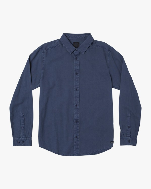 0 Crushed Washed Long Sleeve Shirt Blue M551VRCR RVCA