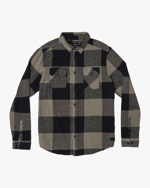 0 Haywire Plaid Button-Up Flannel Green M555WRHA RVCA