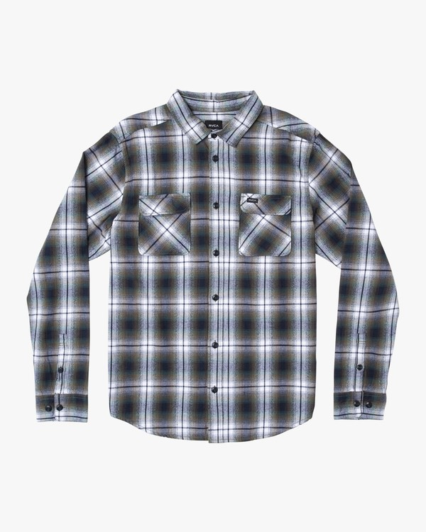 0 Hostile Plaid Button-Up Flannel Green M556WRHO RVCA