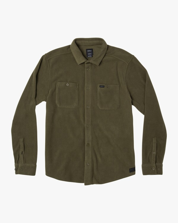 0 Uplift II Fleece Button-Up Shirt Green M558WRUP RVCA