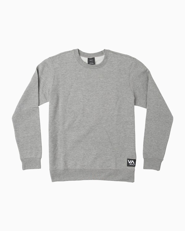 0 Label Crew Fleece Sweatshirt Grey M608QRLE RVCA
