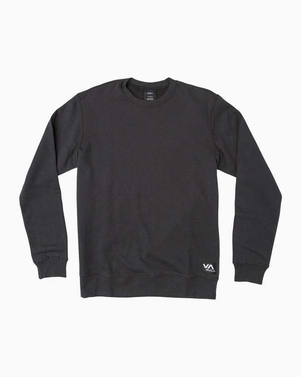 0 Label Crew Fleece Sweatshirt Black M608QRLE RVCA