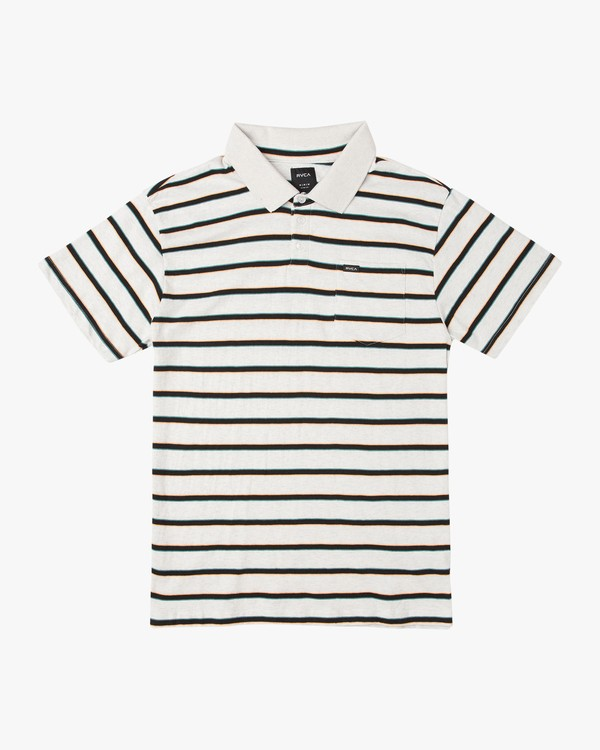 0 Desmond Stripe Polo Shirt White M908URDS RVCA