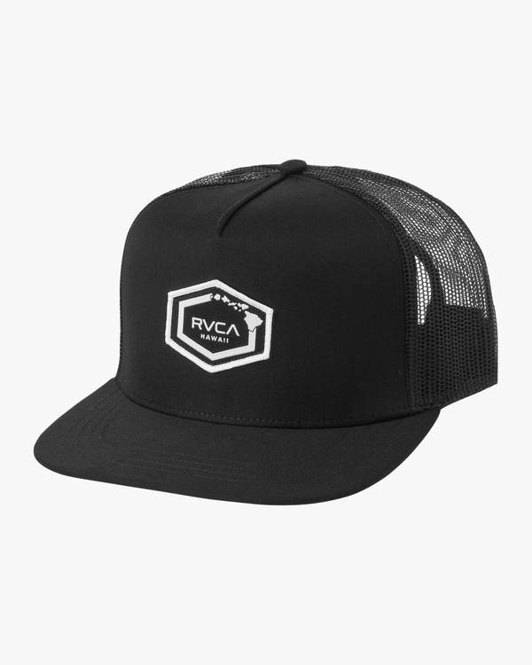 0 Hawaii Hex Patch Trucker Hat Black MAHWQRHH RVCA
